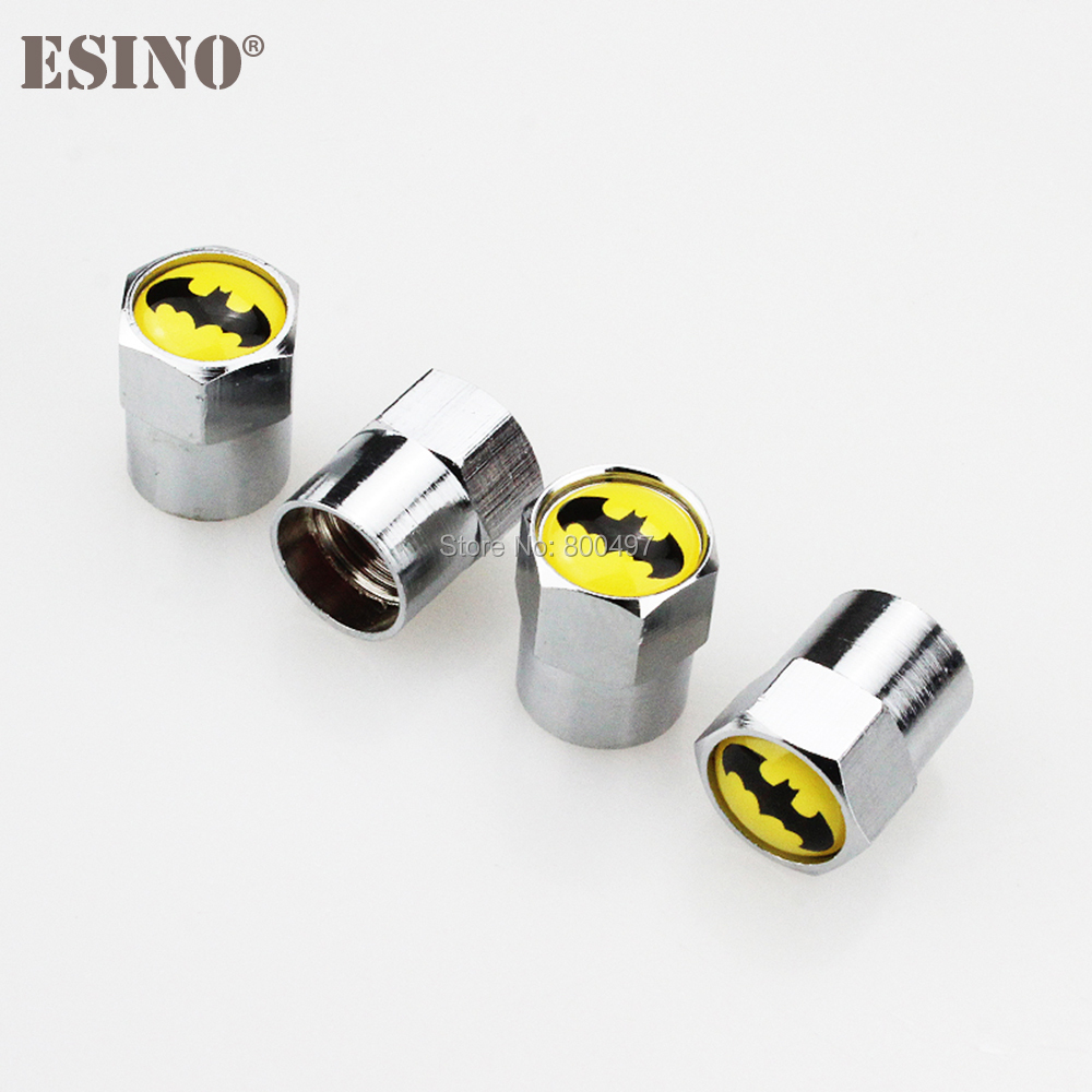 4 x Car Styling Stainless Zinc Alloy Wheel Tire Valve Stems Caps Batman Wheel Tires Valves Tyre Stem Air Caps Airtight Covers