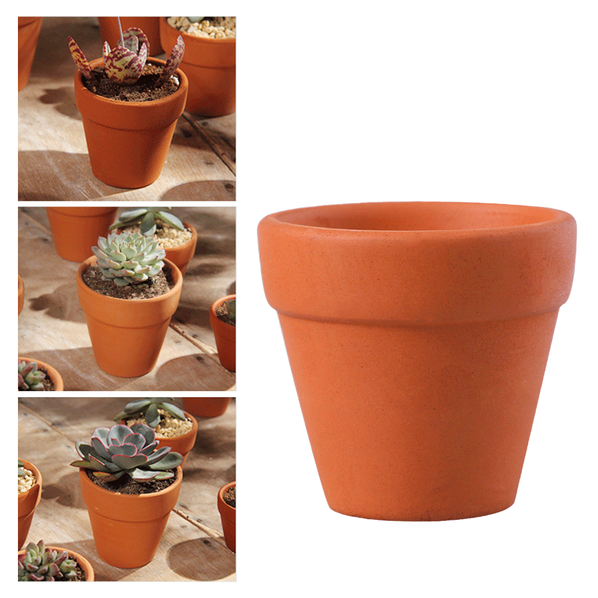 "Orange Plastic Flower Pots Garden Gardening Plant 6/"" 15cm 3 x Terracotta"