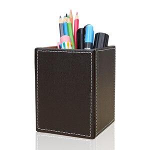 Image 2 - כיכר עור מפוצל עט עיפרון בעל מארגן שולחן משרד שולחן אביזרי A220 עט Stand קלמר