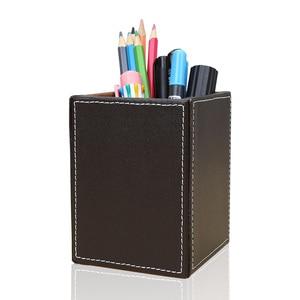 Image 2 - Square PU Leather Pen Pencil Holder Desk Organizer Office Desk Accessories A220 Pen Stand Pencil Box