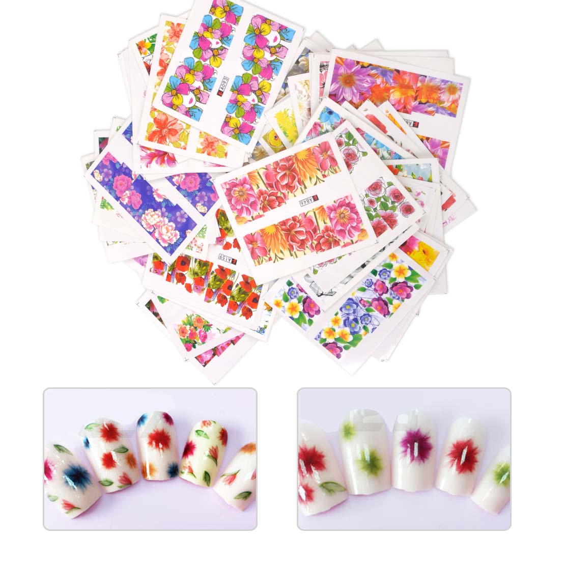 New Fashion 50 Sheets Mixed Design Beauty Flowers Nail Sticker Water Transfer Nails Art Decoration Stickers Decals DIY Manicure ds300 2016 new water transfer stickers for nails beauty harajuku blue totem decoration nail wraps sticker fingernails decals