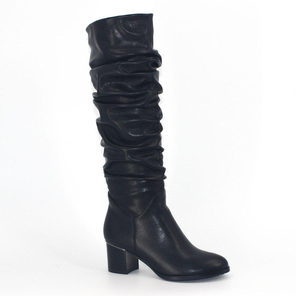 Shoes Women Winter Pleated Chunky High Heel Boots Zipper Knee High Short Plush Black PU Shoe Fashion 2017 Runway Heels mature chunky heel and black design women s short boots