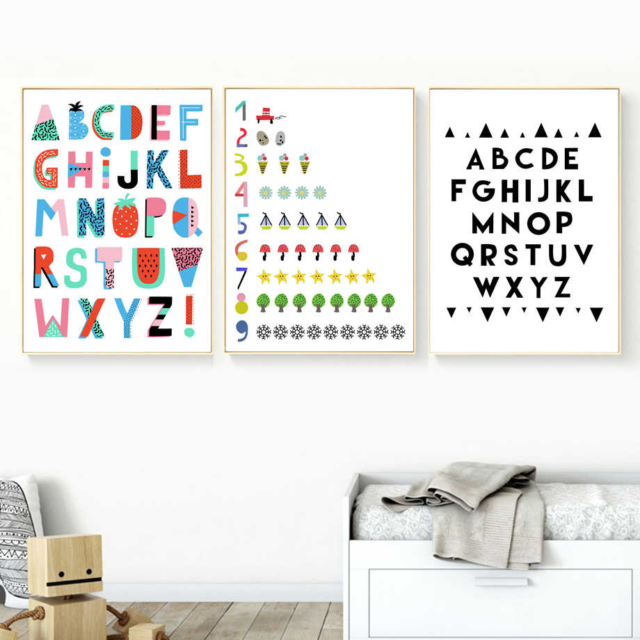 Abstract Alphabet Numbers Wall Art Canvas Painting Nordic Posters And Prints Home Decoration Pictures For Nursery Kids Room