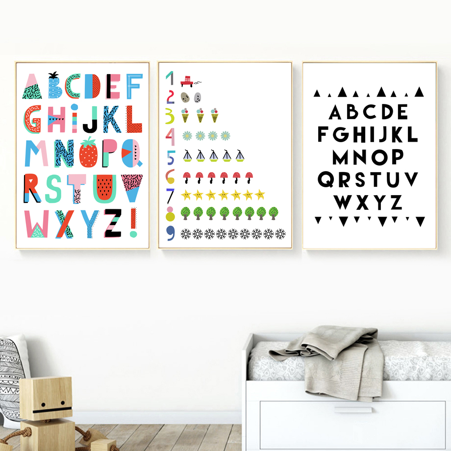 Scandinavian Creative Alphabet Numbers Wall Art Canvas Painting Nordic Posters And Prints Wall Pictures Kids Room Nursery Decor