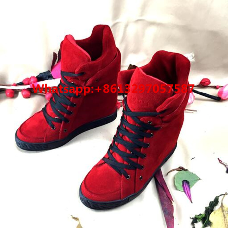 Zobairou Fashion Brand Height Increasing Shoes Woman Discount Platform Casual Shoes Lace Up Hidden Wedges High-Top Booties women sandals 2017 summer style shoes woman wedges height increasing fashion star gladiator platform female ladies shoes casual