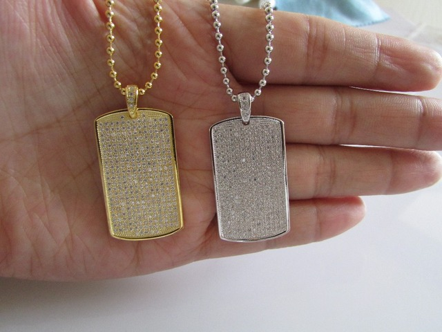 Mens Gold filled 24K high quality Iced Out bling Tag Pendant Charm Simulated Lab Diamonds Micro Pave hip hop jewelry