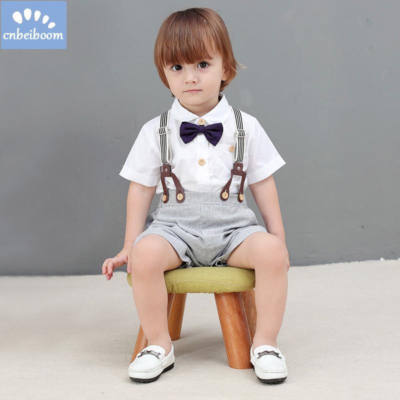 2018 Baby clothes Boy Bow Tie shirt romper + overalls short clothing set kids boys littler gentleman suit infant children 1-4 Y