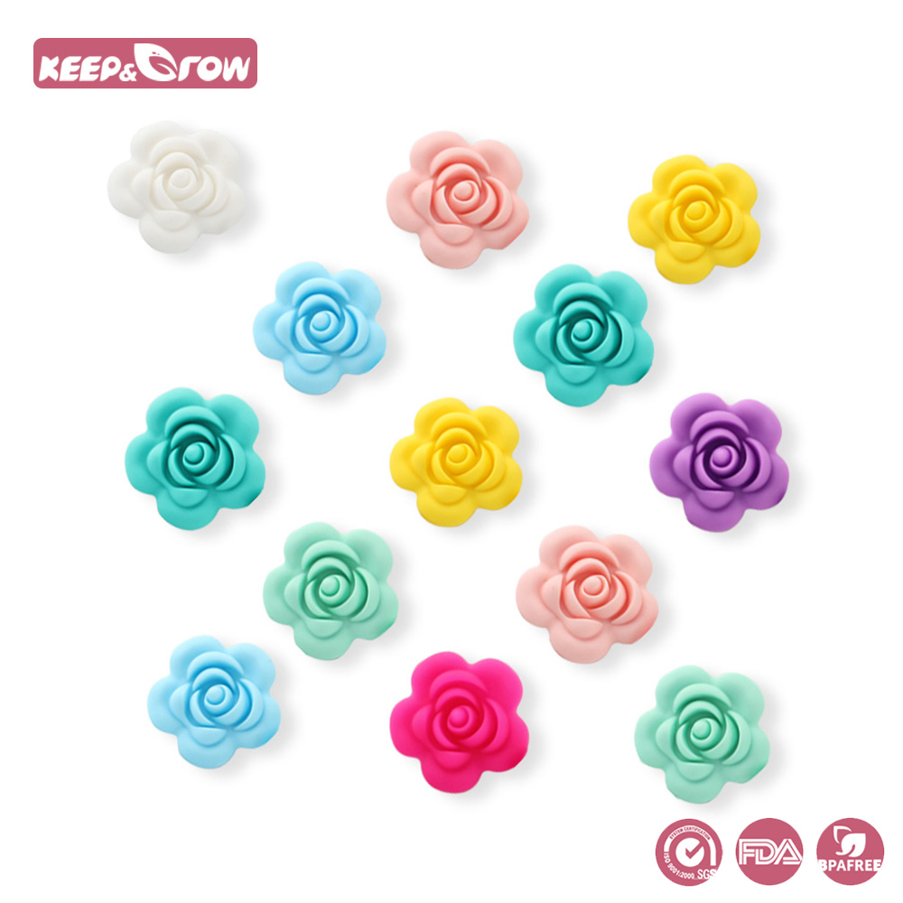Keep&grow 50pcs Silicone Rose Beads Bpa Free Flower Shaped Baby Teethers Chewable Baby Teething Toys Diy Pacifier Chain Pendant Baby Teethers