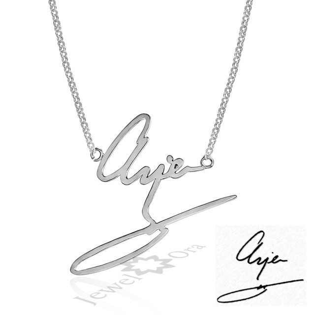 d5faa8dcdf07a US $27.99 20% OFF|Personalized Your Signature Name Necklace Custom Any Name  Necklaces 925 Sterling Silver Handwritten Jewelry For Men Women-in Pendant  ...