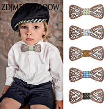 New design Cute Kids Boys Wood Bow Tie Children Butterfly Type Floral ties Girl Wooden
