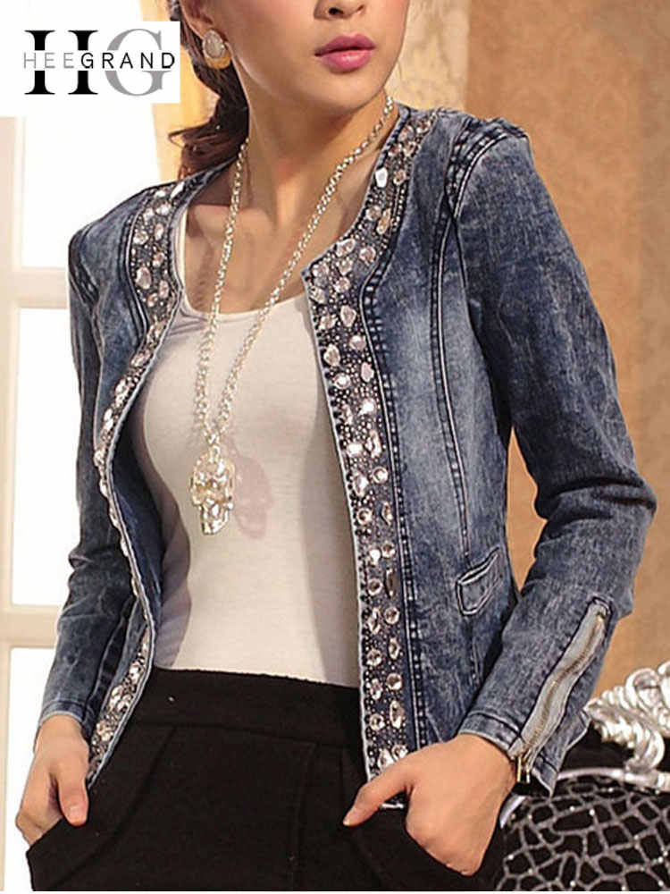 HEE GRAND Jeans Jackets Women Chaqueta Mujer Autumn Denim Jacket Casaco Women Crystal Slim Short Outwear Plus Size S-4XL WWJ920