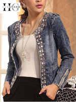 Hee grand jeans jaquetas femininas chaqueta mujer outono denim jaqueta casaco feminino cristal magro curto outwear plus size S-4XL wwj920