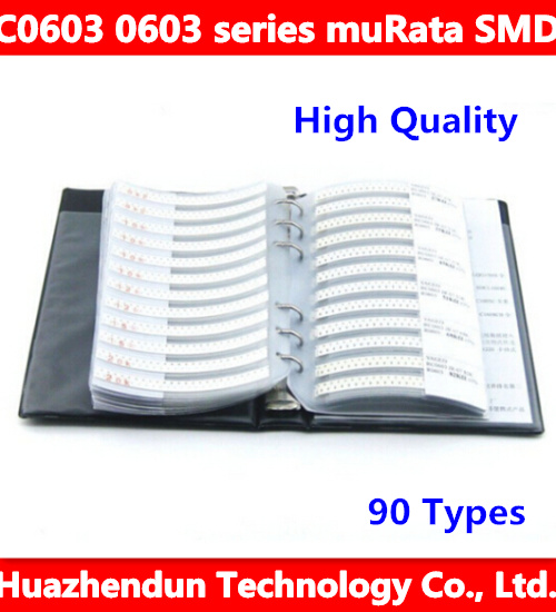 High Quality New C0603 0603 series muRata SMD capacitor 90 Types 4500pcs in Total 5% Tolerance Electronic Components Sample Book 200pcs 0603 5r1 5 1 ohm 5