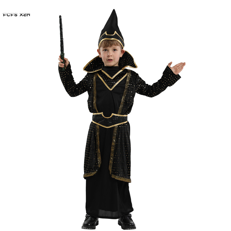 Boys Halloween Magician Wizard Costumes Kids Children Master Magic robe Cosplay Carnival Purim stage play Masquerade party dress