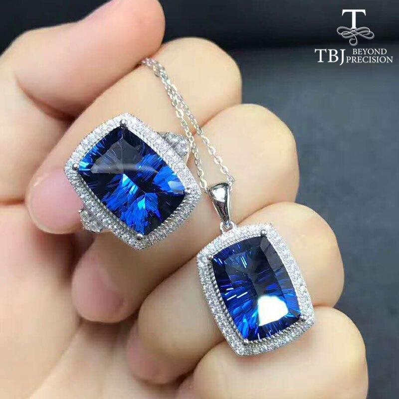 TBJ, grand coussin coupe enduit bleu topaze bijoux ensemble pendentif et bague unisexe 925 bijoux en argent sterling pierres précieuses ensemble avec boîte-cadeau