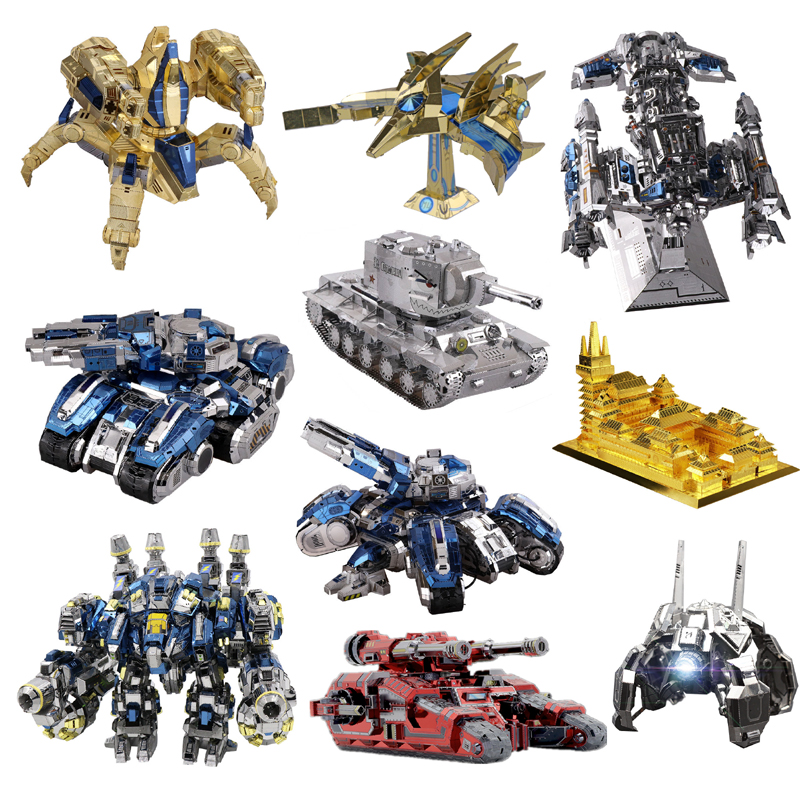 MU 3D Metal Puzzle Siege Tank Battle Cruiser Model DIY 3D Laser Cutting Assemble Jigsaw Toys Desktop Decoration GIFT For Adults