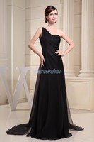 free shipping Formal prom gown 2015 new design one shoulder custom sequined black chiffon sexy backless long evening dress