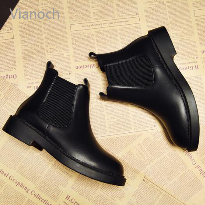 Vianoch New Fashion Ankle Boots Women Autumn Fall Casual Boot Shoes Flats Shoe Woman wo1808144 in Ankle Boots from Shoes