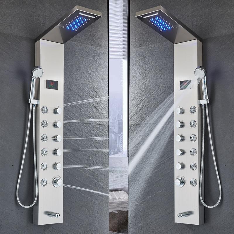 HTB1kjJjao rK1Rjy0Fcq6zEvVXaY - Newly Luxury Black/Brushed Bathroom Shower Faucet LED Shower Panel Column