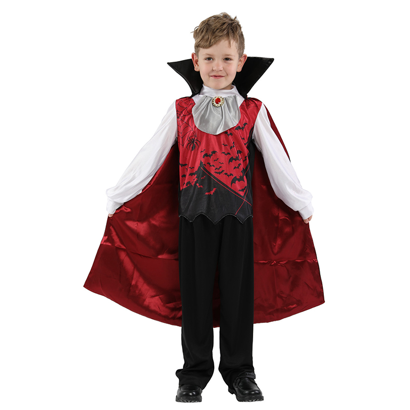 Children boys Gothic Vampire Costume kids Horror Bloody Fancy dress Unifrom boys Blood Sucker child halloween masquerade costume