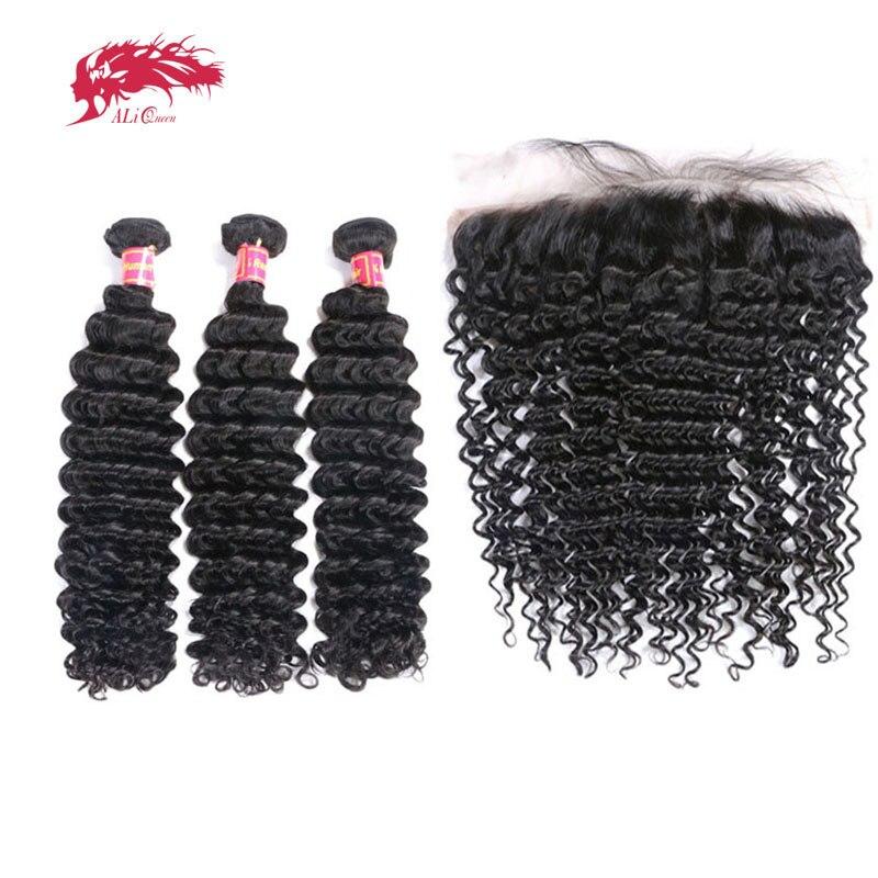 3Pcs Brazilian Remy Human Hair Deep Wave Bundles With Frontal Ali Queen Hair Bundles Hair Extensions