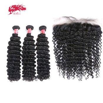 3 шт. бразильский Реми Человеческие волосы глубокая волна Связки с фронтальной Али Queen Hair пучки волос 13x4 Синтетический Frontal шнурка волос