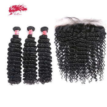 3Pcs Brazilian Remy Human Hair Deep Wave Bundles With Frontal Ali Queen Hair Bundles Hair Extensions 13x4 Lace Frontal - DISCOUNT ITEM  42% OFF All Category
