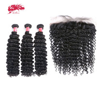 3Pcs Brazilian Remy Human Hair Deep Wave Bundles With Frontal Ali Queen Hair Bundles Hair Extensions 13x4 Lace Frontal
