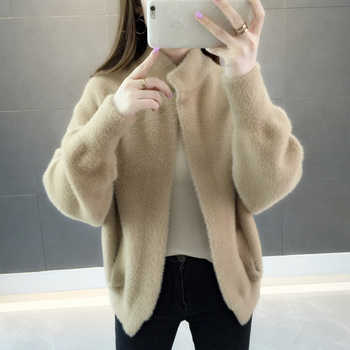 Fashion Loose Knitted Cardigan Sweater Women Cashmere Stand Collar Casual Cashmere Tops Outwear Black White Sweater Coats FP1434 - DISCOUNT ITEM  49% OFF Women\'s Clothing
