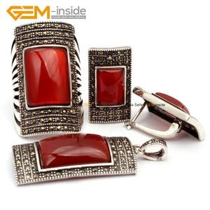 Image 3 - Antiqued srebrny pozłacany pierścień kolczyki wisiorek biżuteria ustawia prostokąt agaty z koralików modne zestaw biżuterii klejnot