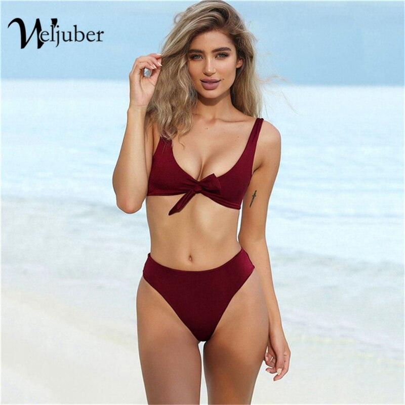 Weljuber Frauen Bikini mit Bowknot Bademode 2018 Hohe Taille Sexy Gepolsterte Bikini Sets Jahrgang Brasilianischen Biquini Push Up Badeanzug