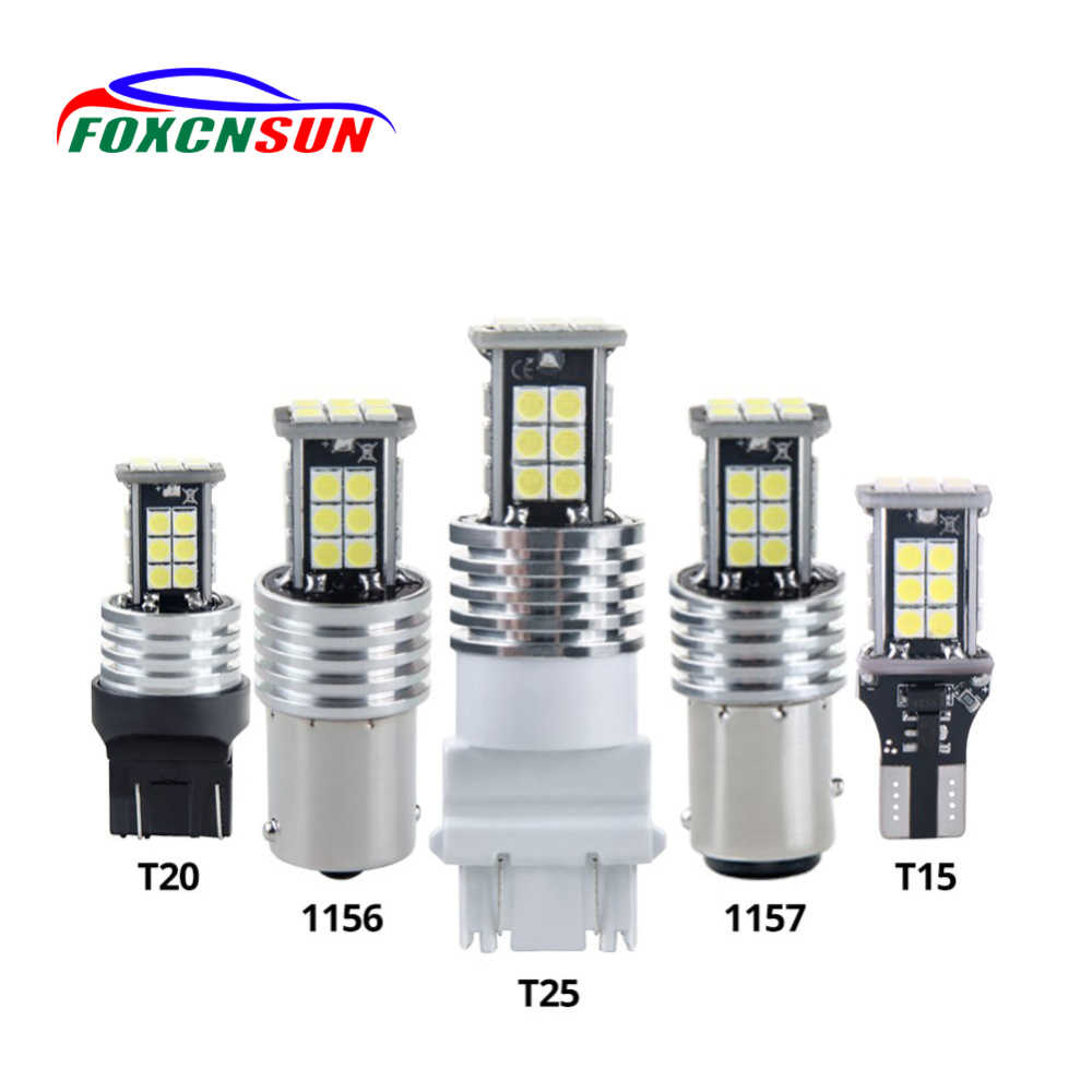 Foxcnsun 2PCS T15 T20 T25 1156 1157 White SMD Car Led Light Bulb Break Light Turn Signal Light Reverse Light Rear fog lamps 12v