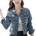 Primavera outono moda casual fino curto mulheres jaqueta jeans buraco rebite único bolso breasted calças de brim jacekt outwear casaco bomber