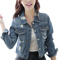 Spring autumn fashion casual slim short denim jacket women rivet hole single breasted pocket bomber jeans jacekt outwear coat