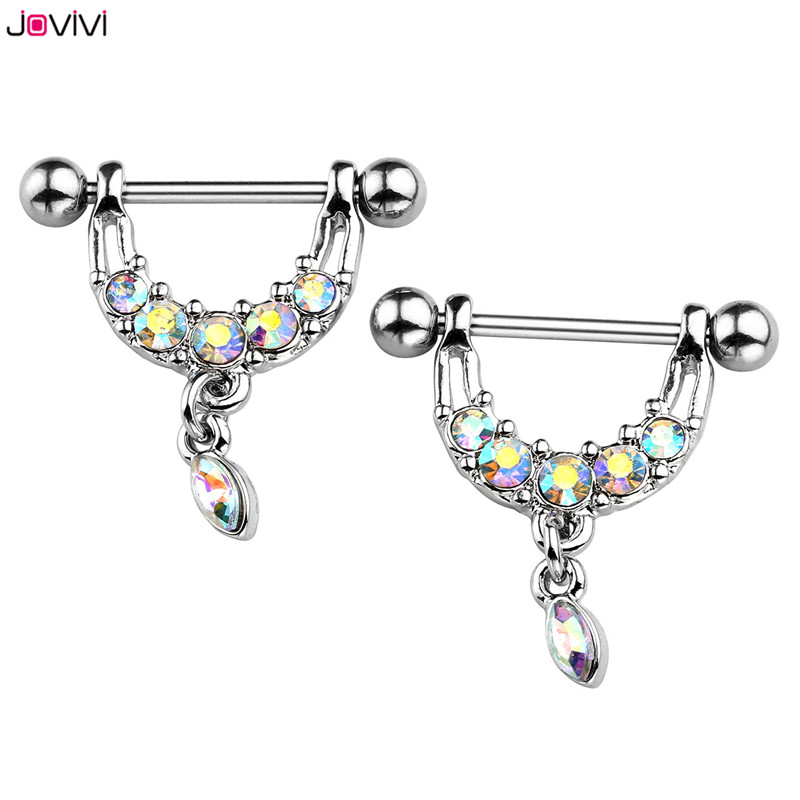 JOVIVI Stainless Steel Rainbow Colors Crystal U Shaped Oval Water Drop Silvery Sexy Nipple Piercing Women body Piercing jewelry