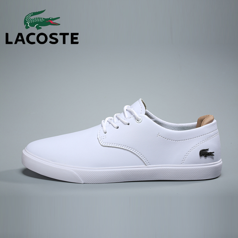 Lacoste Men's Classics Skateboarding Shoes White Leather Sports Athletic Gym Sneakers Men Breathable Soccer Tennis Walking Shoes nike men s indee high shoes athletic sneakers leather white
