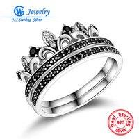 925 Sterling Zilveren Kroon Ring Pave Zirconia arty Zilveren Ring Gw Sieraden RIPY085
