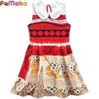 PaMaBa Moana Print Summer Beach Princess Dresses Baby Girls Turn Down Sundress Sleeveless Toddler Kids Clothes