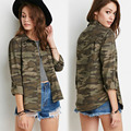 Fashion Women Camouflage Shirts Casual Turn Down Collar Long Sleeve Camouflage Button Dwon Shirts Lady Cool Army Shirt Tees 147