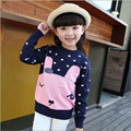 Hot Sale Girls Sweater Baby 2016 Children's Cartoon Decoration Knitted Clothing Casual Sweet  Pullover Sweaters For Girl