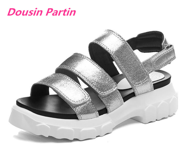 Dousin Partin Women Sandals Sheepskin Cow Leather Wedge Middle Heel Round Open toed Hook Loop Slingback