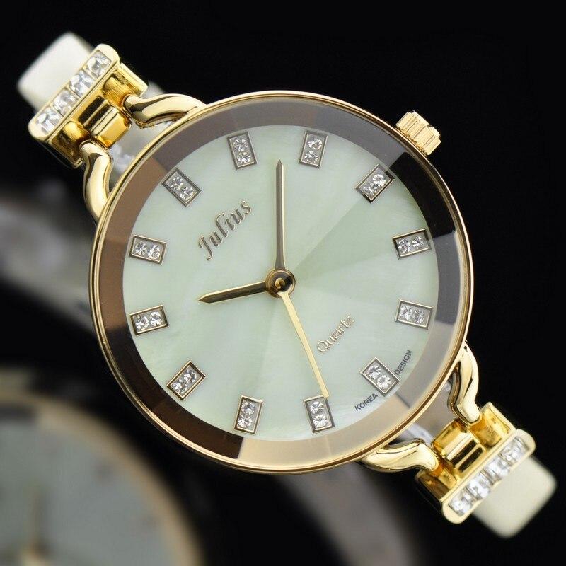 Julius Lady Woman Wrist Watch Quartz Hours Top Fashion Dress Bracelet Band Leather Rhinestone Multicolor Girl
