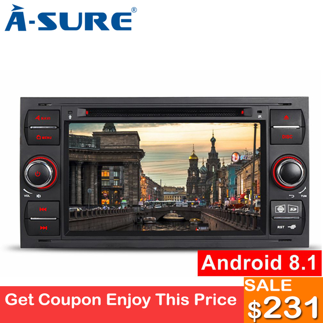 A-Sure Oreo Core Android 8.1 Double Din Radio DVD Navigation GPS for Ford Transit Connect MK7 Focus MK2 Galaxy Fusion C-Max TPMS