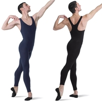 ICOSTUMES Mens One Piece Mid Back Tank Unitard Lycra Ballet Sleeveless Full Body Tight Jumpsuit
