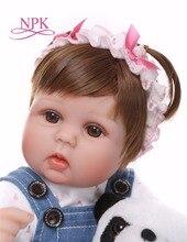 Новый 42 см Reborn Baby Doll 17 дюймов реалистичные новорожденных игрушки куклы для девочек, штаны для детей с голубыми глазами реборн подарок на ден...