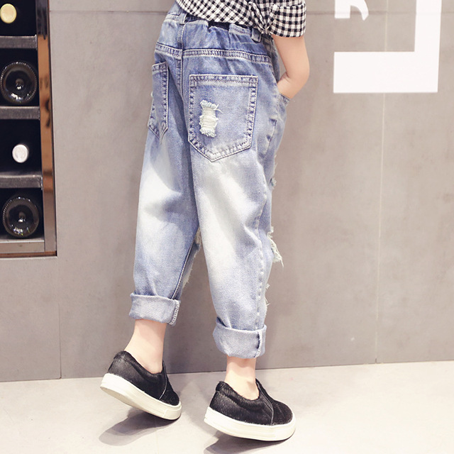 335a5dc5852e0 Ripped Jeans Light blue jeans Ripped Jeans Boys Girls Kids Denim Pants  Casual Children's Jeans Kids