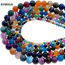 Color Mixing Banded Agat High Quality Natural Stone Round Beads For Jewelry Making DIY Necklaces Bracelets 4 6 8 10 12 MM 15.5