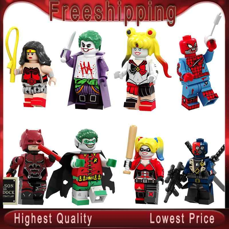 Building Blocks Daredevil Zombie Robin Deathstroke Wonder Woman Harley Quinn Figures Collection For Children Toys PG8196