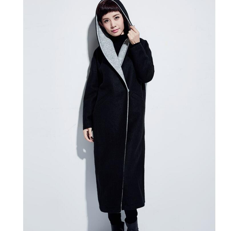 11be6dad91d2d large Collar Hood Wool Coat Winter Coat Women OverSize Wool Jacket Loose  Style Plus Size X-Long Winter Coat