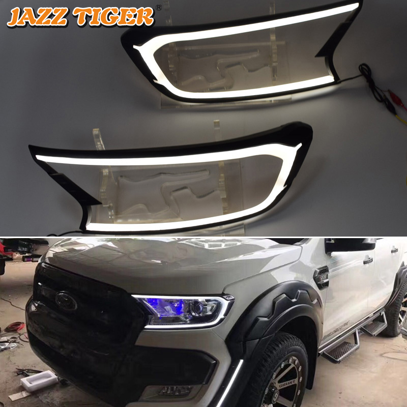 JAZZ TIGER 2PCS Car Headlight Decoration Waterproof 12V DRL Lamp LED Daytime Running Light For Ford